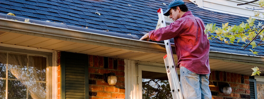 Man clears leaves out of his gutter as part of roof maintenance.