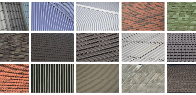 A collage of types of roofing material