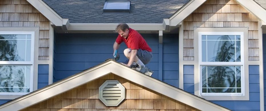 A homeowner tries to do roof repairs himself.
